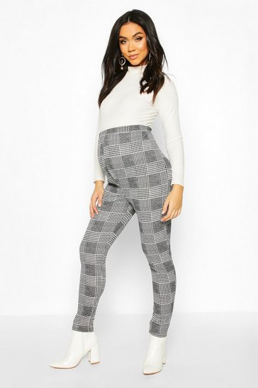 Womens Grey Maternity Check Tapered Trouser