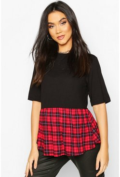 Red Maternity Contrast Check Smock Top