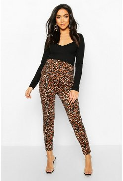 Tan Maternity Leopard Print Tapered Pants