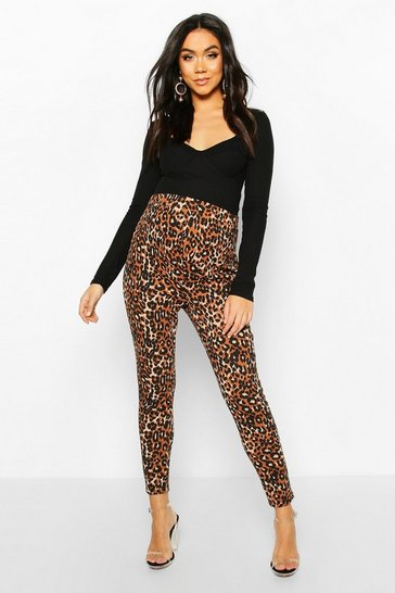 Womens Tan Maternity Leopard Print Tapered Trouser
