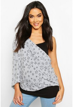 Maternity Star Print Nursing Shawl, Light grey, MUJER