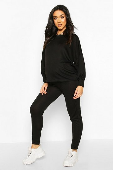Womens Black Maternity Balloon Sleeve Lounge Set