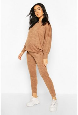 Womens Camel Maternity Balloon Sleeve Lounge Set