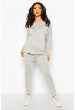 Maternity Slash Neck Jogger Lounge Set, Light grey