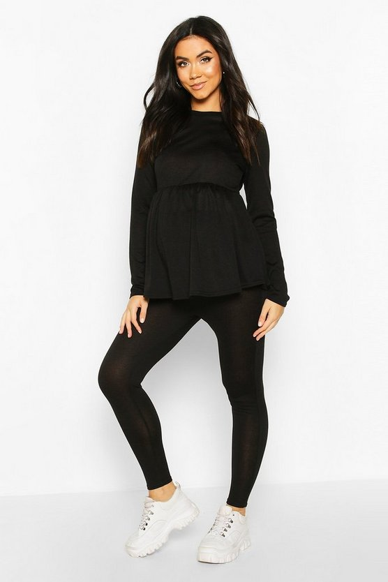 Womens Black Maternity Smock Lounge Set