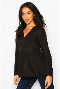 Maternity Button Front SmockTop, Black