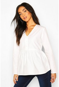 White Maternity Button Front SmockTop
