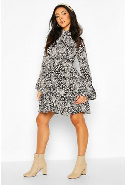 Black Maternity Floral Smock Shirt Dress