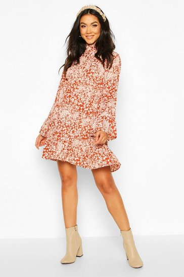 Rust Maternity Floral Smock Shirt Dress