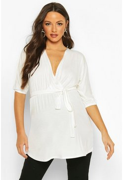 Cream Maternity Tie Waist Wrap Front Tunic Top