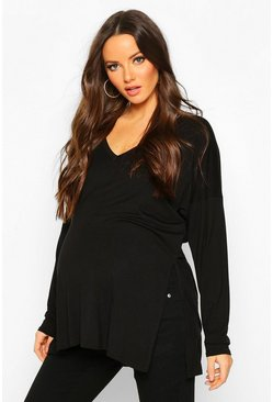 Black Maternity V Neck Side Split Tunic Top