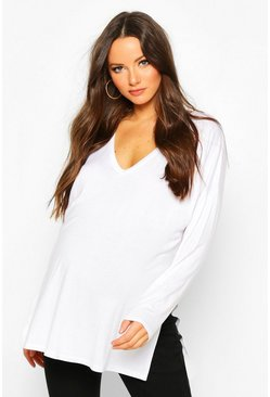 Womens Cream Maternity V Neck Side Split Tunic Top