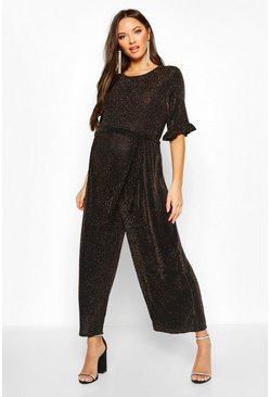 Womens Gold Maternity Shimmer Ruffle Jumpsuit