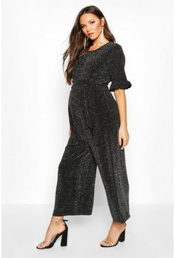 Silver Maternity Shimmer Ruffle Jumpsuit