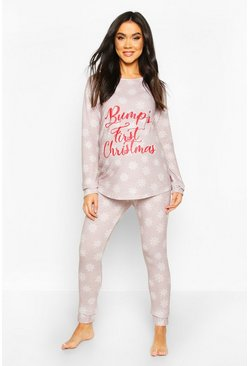 Womens Light grey Maternity 'Bumps First Christmas' Lounge Set