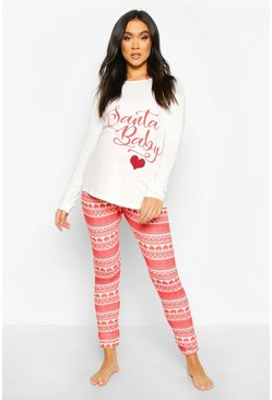 Maternity 'Santa Baby' Fairisle Lounge Set, Red