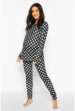 Black Maternity Polka Dot Lounge Set