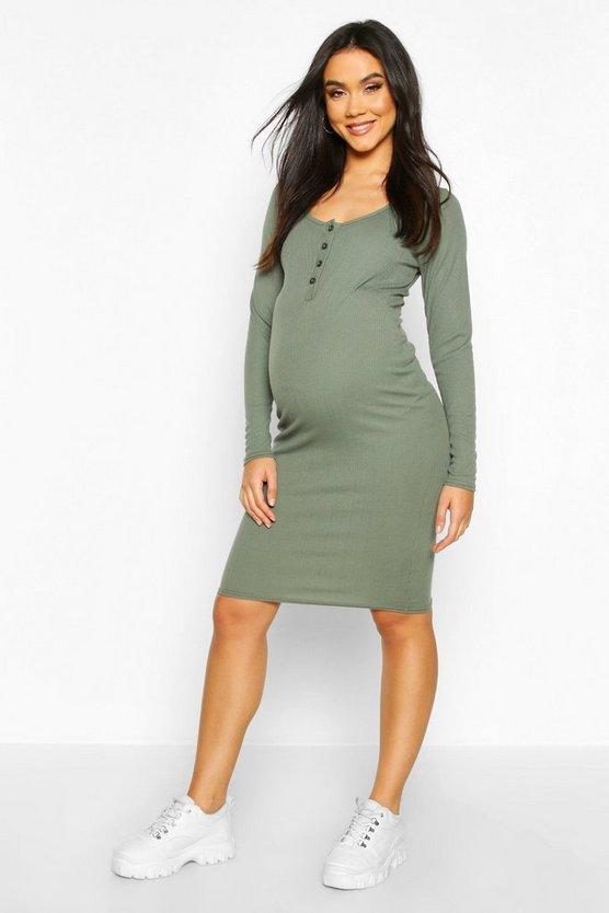 Maternity Button Front Nursing Rib Dress
