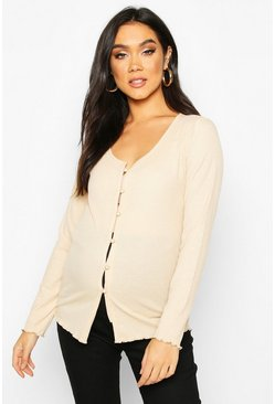 Stone Maternity Button Front Lettuce Hem Rib Top