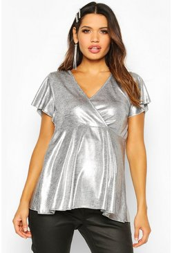 Womens Silver Maternity Shimmer Wrap Peplum Top