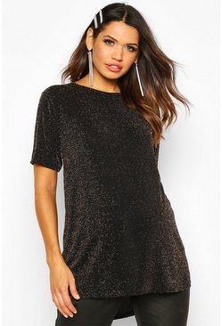 Maternity Slash Neck Shimmer Tunic Top, Gold