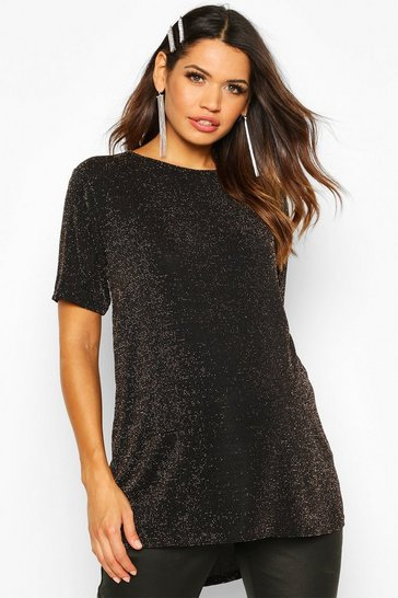 Womens Gold Maternity Slash Neck Shimmer Tunic Top