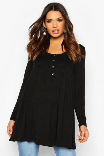 Black Maternity Button Front Smock Tunic Top