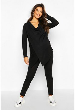 Maternity Nursing Wrap Lounge Set, Black, Donna