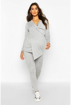 Womens Light grey Maternity Nursing Wrap Lounge Set