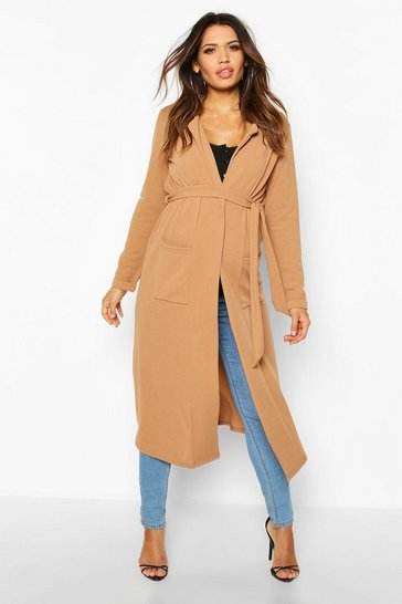 Womens Camel Maternity Pocket Duster Jacket