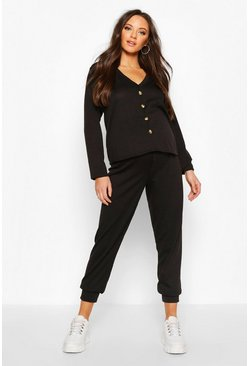 Womens Black Maternity Button Front Jogger Lounge Set