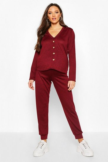 Wine Maternity Button Front Jogger Lounge Set