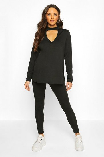 Womens Black Maternity Choker Detail Legging Lounge Set