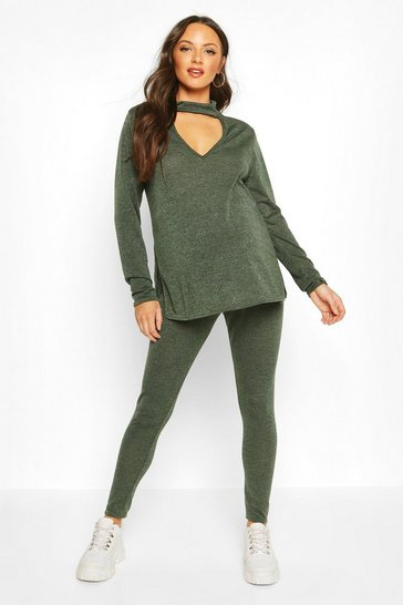 Womens Khaki Maternity Choker Detail Legging Lounge Set
