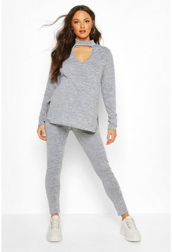 Light grey Maternity Choker Detail Legging Lounge Set