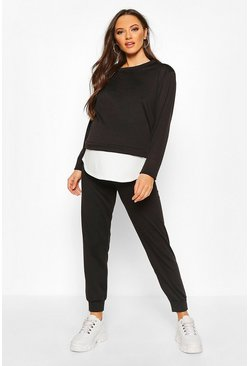 Womens Black Maternity Double Layer Jogger Lounge Set