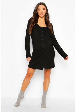 Dam Black Maternity Button Front Long Sleeve Nightie