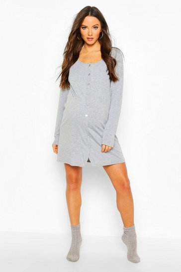 Womens Light grey Maternity Button Front Long Sleeve Nightie