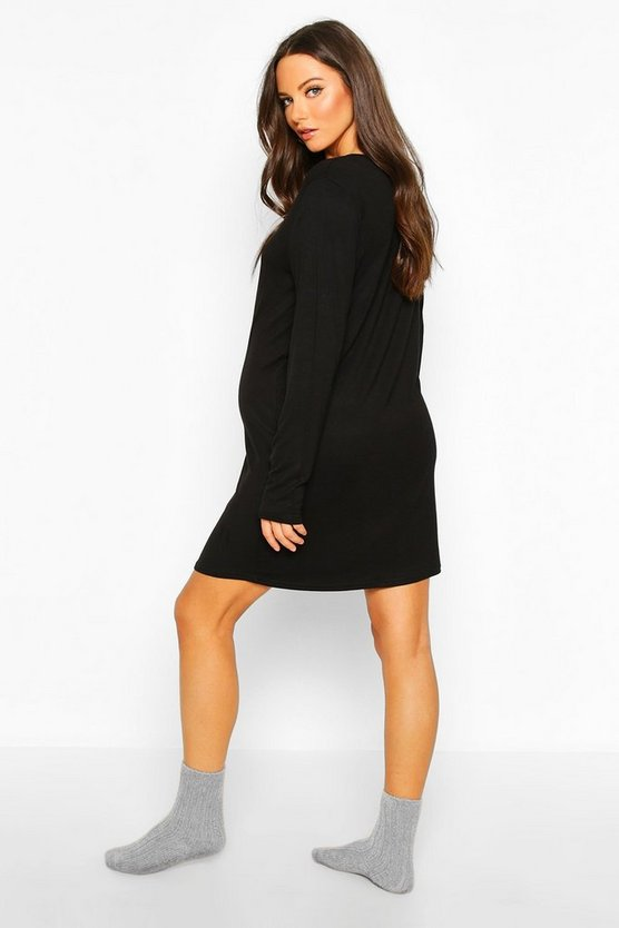 Maternity Button Front Long Sleeve Nightie
