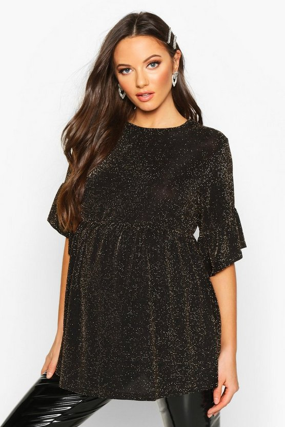 Gold Maternity Shimmer Smock Top