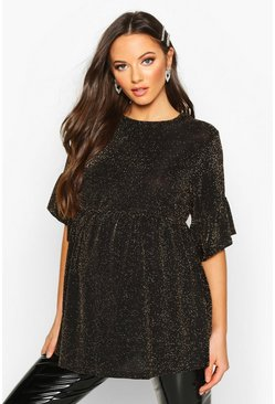 Womens Gold Maternity Shimmer Smock Top
