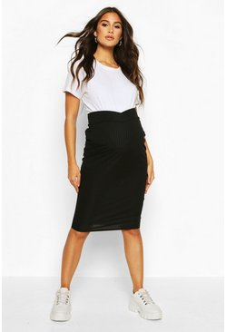 Womens Black Maternity Cross Front Rib Midi Skirt