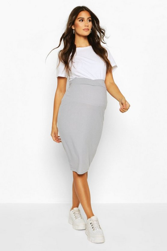 Womens Grey Maternity Cross Front Rib Midi Skirt