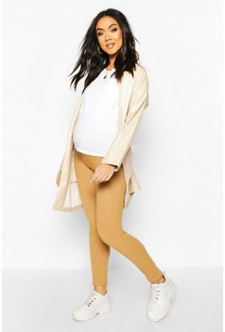 Tan Maternity Twill Look Tapered Pants
