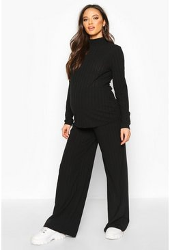 Dam Black Maternity High Neck Wide Leg Lounge Set