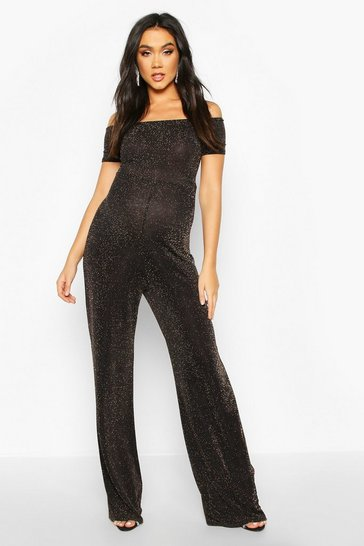 Womens Gold Maternity Off The Shoulder Shimmer Jumpsuit