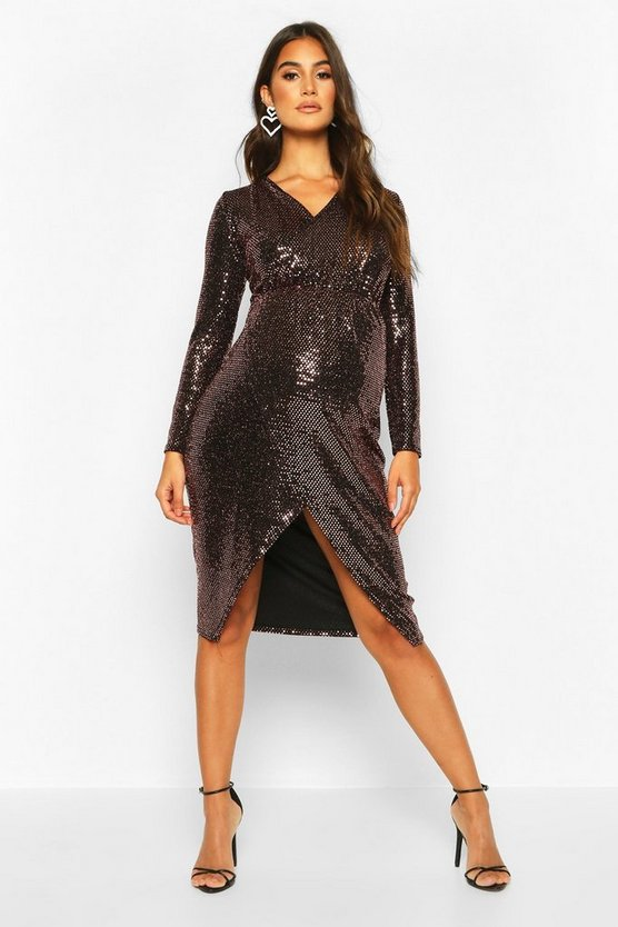 Bronze Maternity Wrap Front Shimmer Midi Dress
