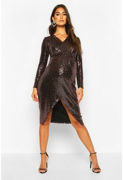 Womens Bronze Maternity Wrap Front Shimmer Midi Dress