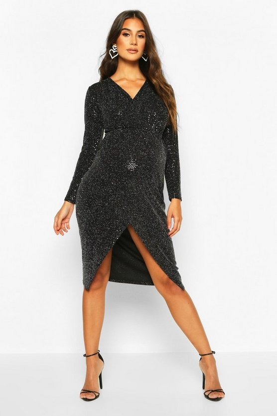 Maternity Wrap Front Shimmer Midi Dress