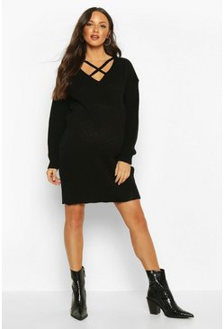 Womens Black Maternity Cross Front Jumper Dress